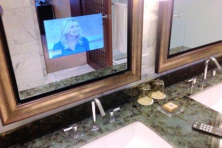HDTV in bathroom mirror
