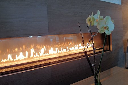 Fireplace in the lobby of the Shangri-La Hotel Toronto