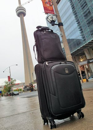 In Toronoto with the Travelpro's Platinum Magna Carry-on and Expandable Rollaboard