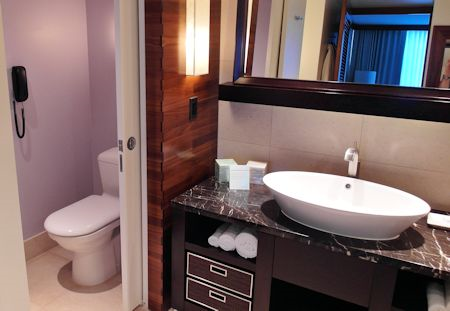 Having a separate toilet room is nice for privacy. Canyon Ranch Hotel & Spa, Miami Beach, Florida
