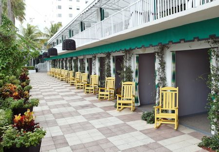 Cabanas around the pool area. The Surfcomber Hotel Miami | South Beach, Florida
