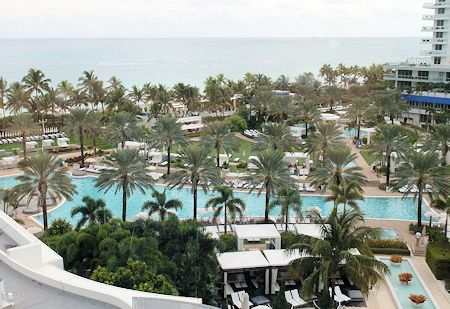 View of the main bowtie pool from my guestroom at the Fontainebleau Hotel, Miami Beach Florida