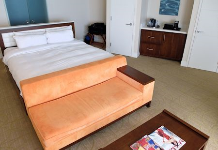 Large corner guestroom at the Eden Roc Hotel in Miami Beach, Florida