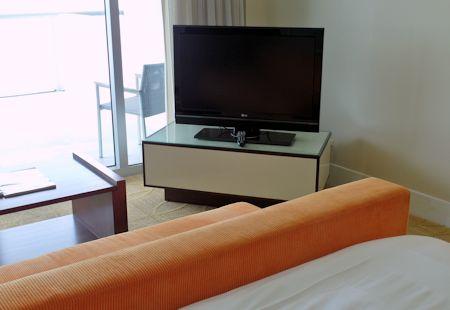 Big HDTV at the Eden Roc Hotel in Miami Beach, Florida