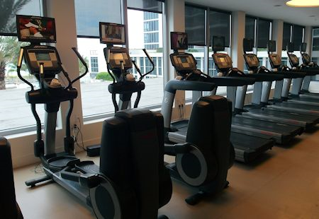 Fitness equipment at the Eden Roc Hotel in Miami Beach, Florida