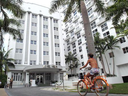 Main entrance to The James Royal Palm Hotel, South Beach, Miami Florida