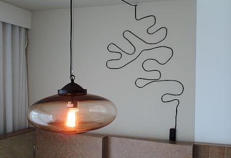 Interesting guestroom lamp installation / artwork at The James Royal Palm Hotel, South Beach, Miami Florida