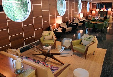 Comfortable seating area in the lobby of The James Royal Palm Hotel, South Beach, Miami Florida