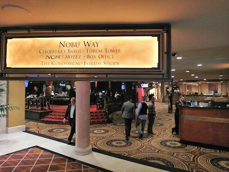 Signs direct you to the Nobu Las Vegas Hotel inside of Caesars.