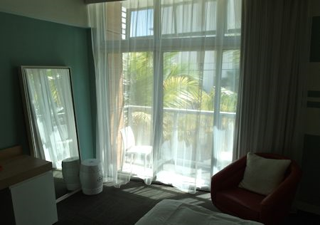 Large floor to ceiling window at the Sense Beach House, South Beach, Miami Florida