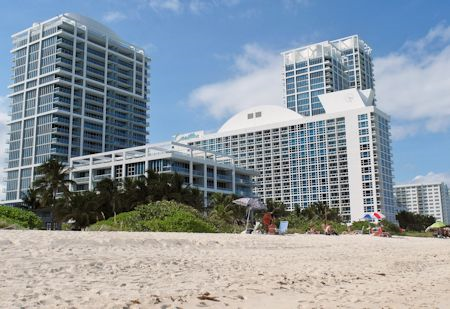Exterior view from the beach of the Canyon Ranch Hotel & Spa in Miami, Florida