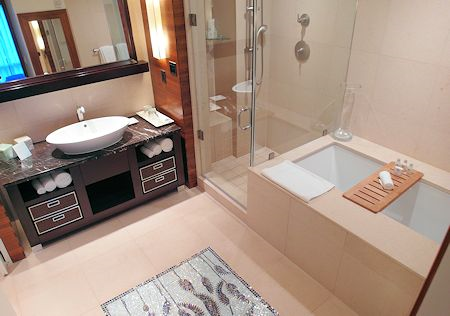 Large bathroom with shower & tub at the Canyon Ranch Hotel & Spa, Miami Beach, Florida