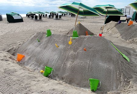 Nice pile of beach sand for the kids to play in. The Surfcomber Hotel Miami | South Beach, Florida