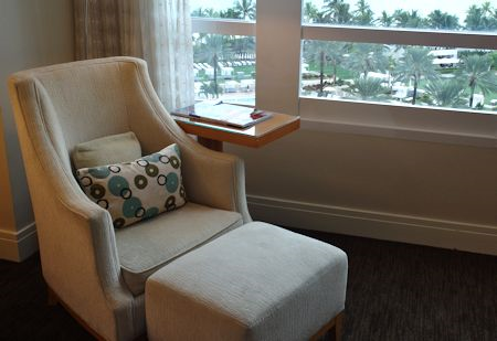 Comfortable chair beside the guestroom window at the Fontainebleau Hotel, Miami Beach Florida