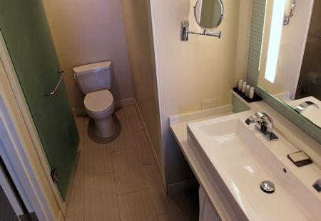 Guestroom bath. Eden Roc Hotel in Miami Beach, Florida