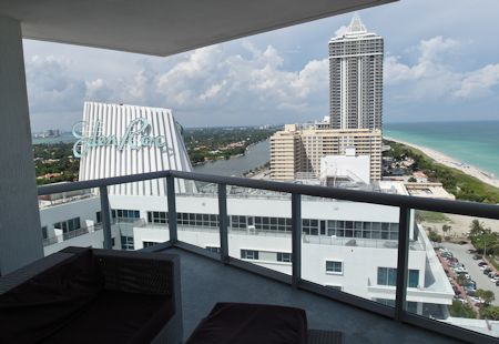 View north up the beach from the Eden Roc Hotel in Miami Beach, Florida