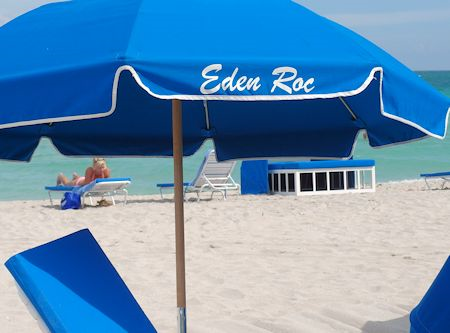 Hotel provides food and beverage services on the sand. Eden Roc Hotel in Miami Beach, Florida