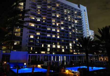 Evening photo of the main tower at Eden Roc Hotel in Miami Beach, Florida
