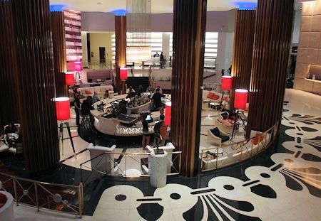Lobby and the lobby bar at the Eden Roc Hotel in Miami Beach, Florida