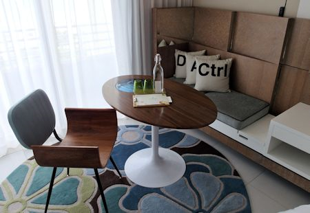 Small table in guestroom of The James Royal Palm Hotel, South Beach, Miami Florida