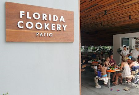Florida Cookery cafe/patio dining near the pool at The James Royal Palm Hotel, South Beach, Miami Florida
