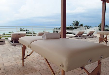 View from the RENEW spa deck at The James Royal Palm Hotel, South Beach, Miami Florida