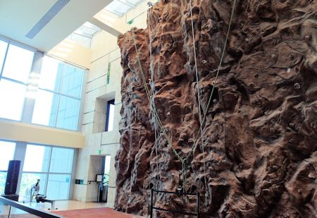 Rock climbing wall at Canyon Ranch Hotel & Spa, Miami Beach, Florida