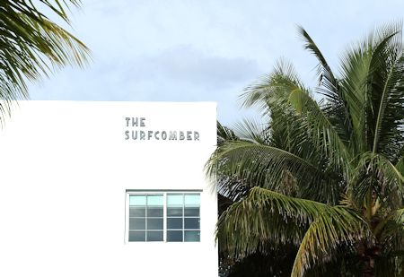 Exterior as seen from the pool/beach of The Surfcomber Hotel Miami | South Beach, Florida