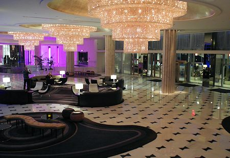 Impressive main lobby of the Fontainebleau Hotel, Miami Beach Florida