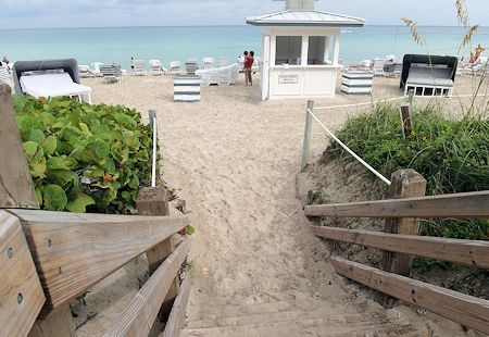 Easy beach access from the Fontainebleau Hotel, Miami Beach Florida