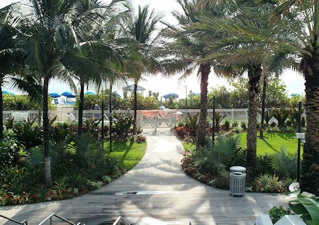 Pathway that leads from hotel to the beach. Eden Roc Hotel in Miami Beach, Florida