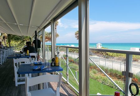 Cabana Beach Club is a lovely cafe looking over the beach at the Eden Roc Hotel in Miami Beach, Florida