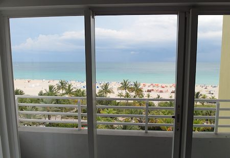 Nice big window looking out at the ocean and the beach from The James Royal Palm Hotel, South Beach, Miami Florida