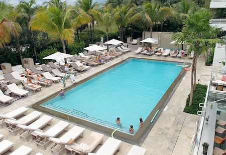 Main pool at The James Royal Palm Hotel, South Beach, Miami Florida