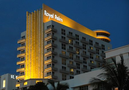 After Dark View Of The Tower At James Royal Palm Hotel South Beach