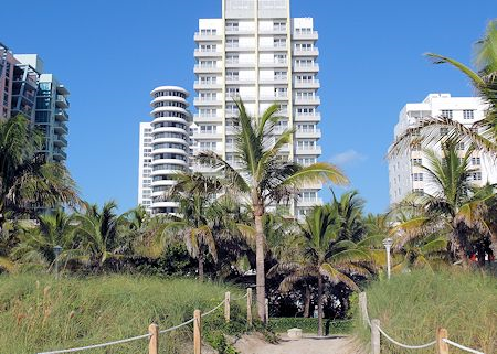 View from the beach of The James Royal Palm Hotel, South Beach, Miami Florida