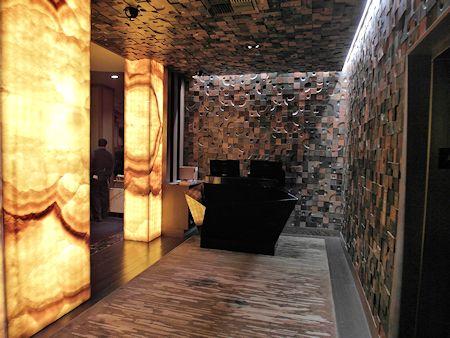 Small lobby of the Nobu Hotel Las Vegas, inside Caesars Palace resort.