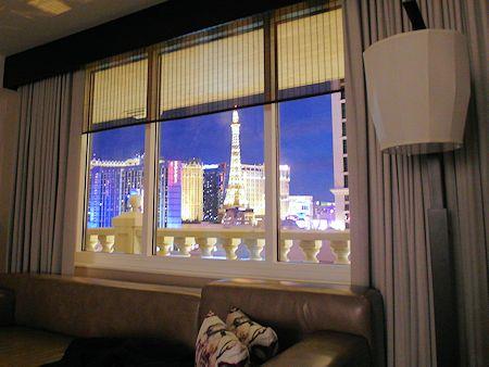 View of the Strip from room in Nobu Hotel Las Vegas.