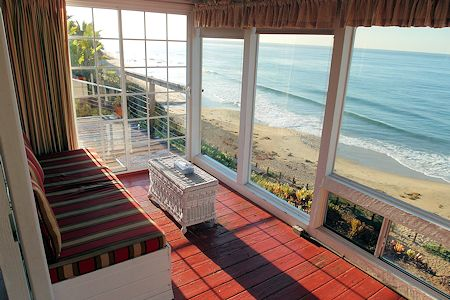 Ocean View, wall of windows in Cottage #33 of Crystal Cove.