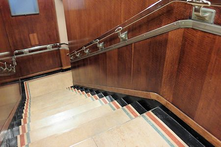 Art Deco style staircase between decks on the Queen Mary.