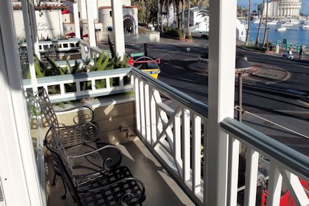 Balcony overlooking ocean from Mini Suite 215 Hotel Metropole, Avalon CA.