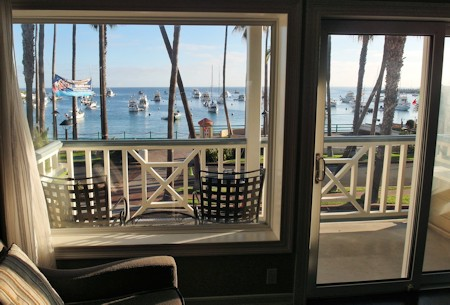 View of Harbor & Ocean from Mini Suite #215, Hotel Metropole, Avalon CA.