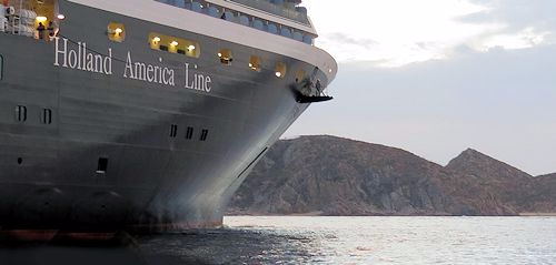 The Westerdam sitting off of the Mexican Coast during a Christmas cruise.