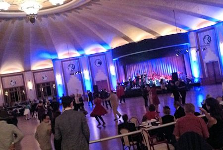 Swing dancers and a Big Band perform in the Casio Ballroom.