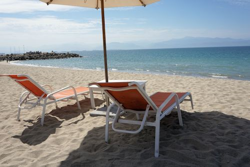Beach chairs at Matlali beach club.