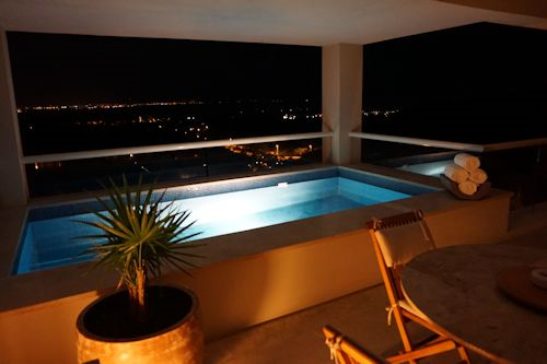 Balcony plunge pool after dark.