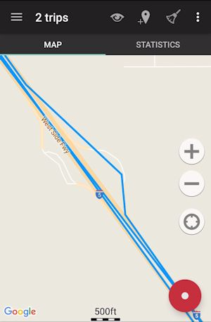 Route Screenshot from Geo Tracker App