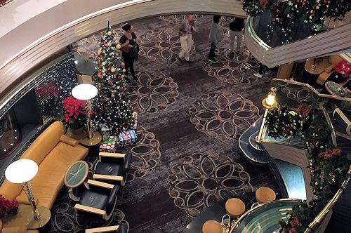 The Atrium of the Westerdam with Christmas decorations.