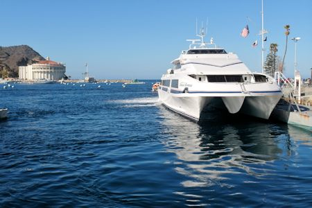 Catalina Express boat arriving in Avalon Harbor, Catalina Island.