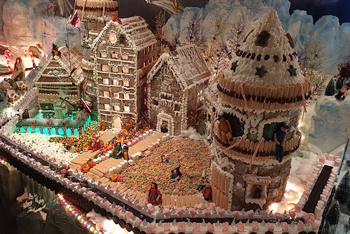 A gingerbread village.